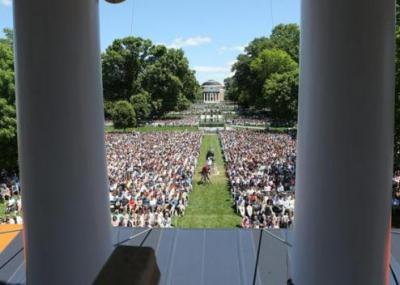 View of graduation from the rotunda steps