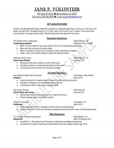 Peace Corps Agriculture Sample Resume