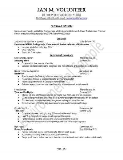 sample resume for environmental services
