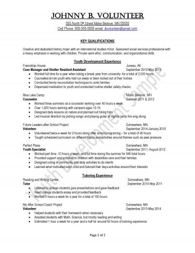 Peace Corps Youth Development Resume