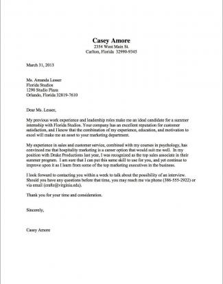 Cover Letter For Internships | Cover Letter Samples Uva Career Center