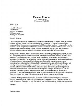 Cover Letter Samples   UVA Career