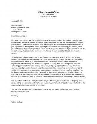 Cover Letter Sample Student Internship - How to Write a Cover Letter ...