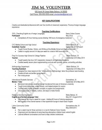 Peace Corps Education Sample Resume