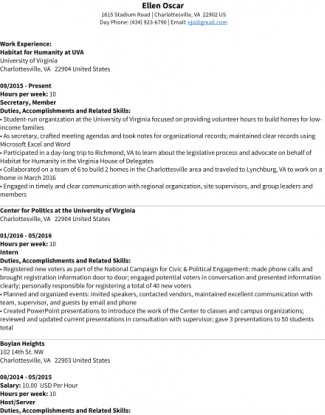 Ellen Oscar  Sample Federal Resume