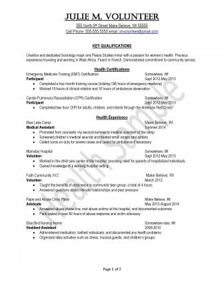 Peace Corps Health Sample Resume